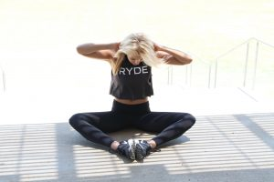 Fitness girl in black gym kit